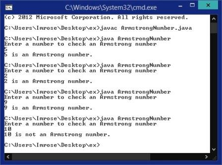 How to find Armstrong number in java program