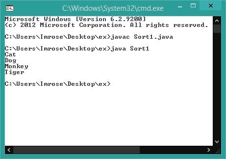 Program for Java Sort Arraylist